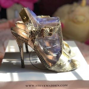 Gold Snakeskin Sandals Heels